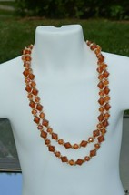 Vintage West Germany  Amber Lucite  Bead 2 Strand Necklace 22''inches lo... - $28.01