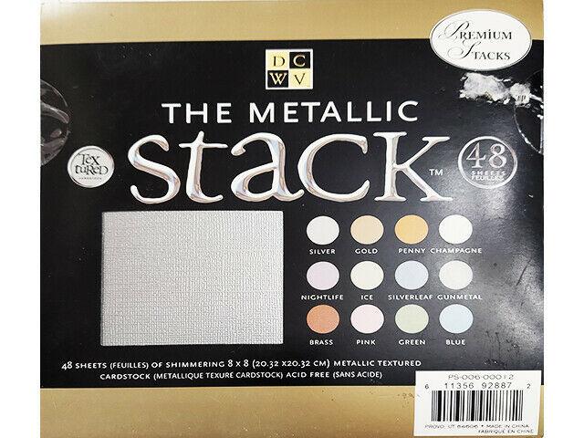 DCWV The Metallic Cardstock Stack 48 Metallic Textured Cardstock, 8x8 Inches