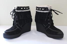NEW! Sam Edelman Black Suede Leather Fringe Studded Kemper Boots 8.5 M $150 - $108.00