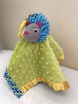 Early Years Hedgehog Security Blanket Lovey Blue Yellow Minky - $11.88