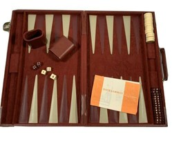 Vintage Backgammon Set in Case Faux Suede 18 x 11.5 Inches - $65.00