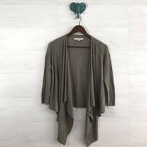 Ann Taylor LOFT XS Wool Blend Greige Open Drape Front Cardigan Sweater W... - $18.25