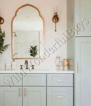 Moroccan Wall Mirror Antique Gold 40H Vanity Bathroom Metal Arched Arabesque - $293.40