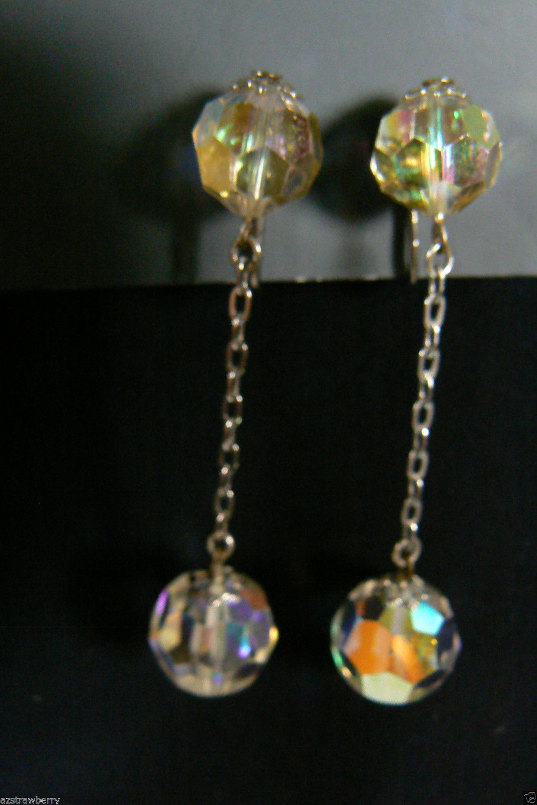 Primary image for Vintage silvertone Auroral Borealis Charm Chain Drop Rhinestone clip Earrings