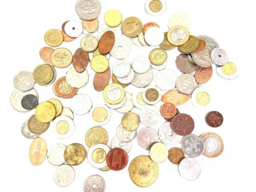 +9 lbs Foreign Coins Bulk World Token Tax Gaming Older Coins Lot Souvenir