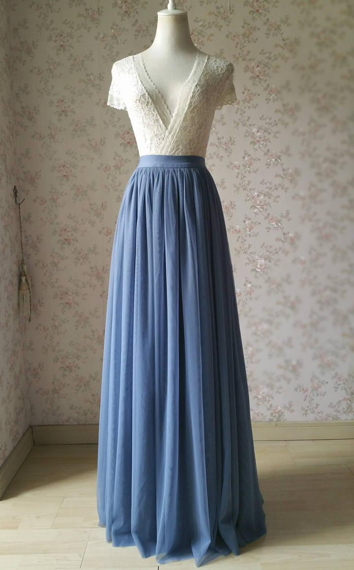 COFFEE High Waisted Plus Size Maxi Skirt Floor Length Bridesmaid Tulle Skirt NWT image 8