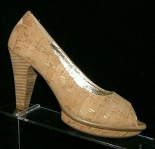 Sofft 'Ramona II' beige cork print round peep toe slip on platform heels 6.5M  - $35.17
