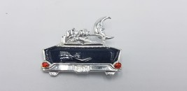 Vintage AJC Signed Cat Lovers In Old Chevy W/ Moon Silver Tone Pin / Bro... - $29.02