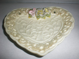 White Ceramic Heart Dish W/ Flowers Jewelry Ring Holder Gift Wholesale L... - $18.65