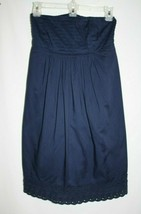 J Crew Factory Misses SMALL Strapless Navy Blue Eyelet Trim Dress A Line Smocked - $19.35