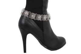 New Women Vintage Boot Chain Silver Metal Shoe Anklet Ethnic Antique Charm Strap - $17.63