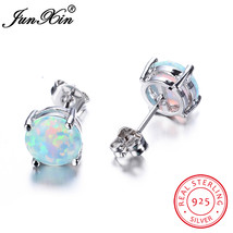 Female Small Round White Blue Fire Opal Stud Earring Real Sterling Silver Jewelr - $14.68