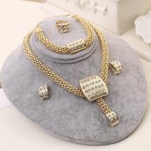 Classic Design African Gold-color Necklace Set Women Crystal Bridal Wedd... - $12.94