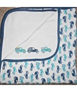 2015 Gymboree Produce Truck Baby Blanket Blue Teal White Cars Farm Vehicles - $24.72