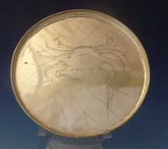 Whiting Sterling Silver Salver Tray with Acid Etched Crab In Net (#0134) - $6,995.00