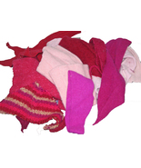 Felted Wool Sweater Scraps, 8 ounces of Pink and Red Upcycled Sweater Felt - $14.99