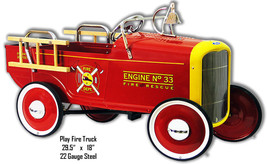 Play Fire Truck Laser Cut Out Metal Sign 18x29.5 - $46.53