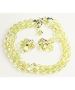 VINTAGE Jewelry SIGNED VOGUE YELLOW GLASS BEAD CRYSTAL SET NECKLACE EARR... - $65.00
