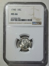 1940 Mercury Silver Dime 10¢ Coin NGC MS66 - Lot# SR 1243