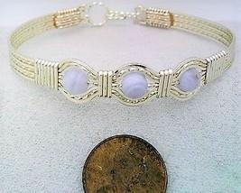 Blue Lace Agate Silver Wire Wrap Bracelet Sz. 7.5 - $31.95