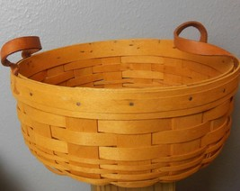 1999 Longaberger Basket w/ 2 Leather Handles  9½ Dia x 4 H - $18.00