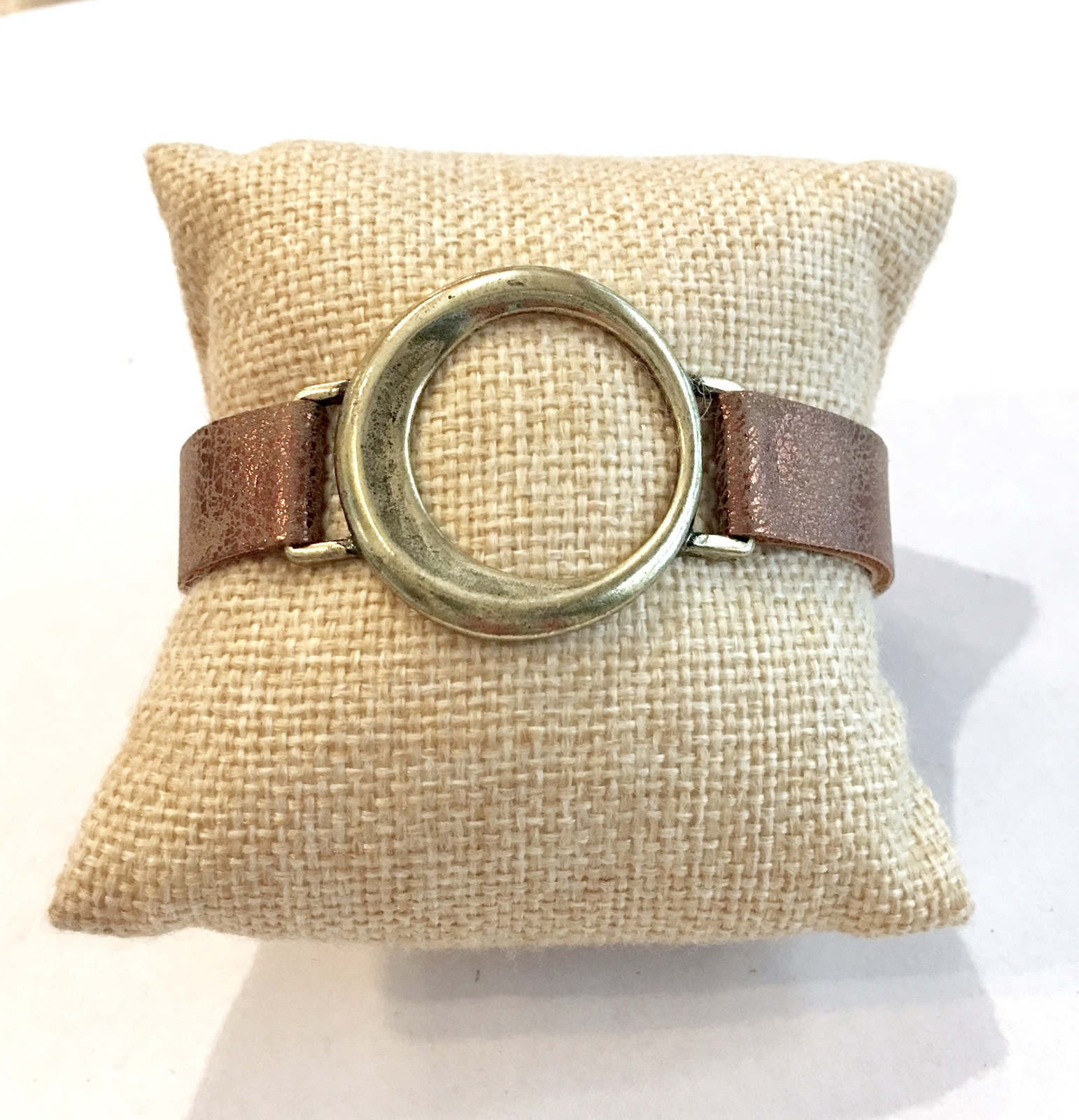 Faux Leather Bracelet, Brown Leather Bracelet with Gold Ring