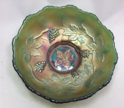 Northwood Carnival Glass Green Iridescent Scalloped Candy Bowl Grapes An... - $18.80
