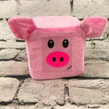 Six Flags Pink Block Pig Plush Soft Cute Novelty Stuffed Animal Toy - $7.91