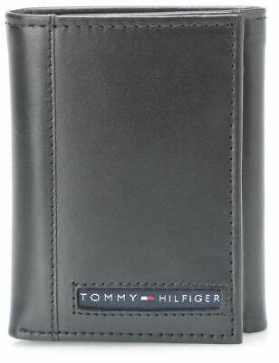 Tommy Hilfiger Men's Premium Leather Credit Card Id Wallet Trifold Black 5676-1