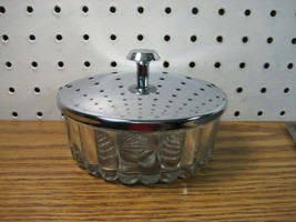 Modern Ribbed Glass Candy Dish with Chrome Lid - $16.10