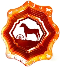 12 in stainless steel copper Horse & Wheel USA 3D hanging wind spinner, spinners - $32.00
