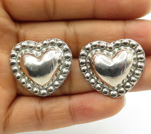 Primary image for 925 Sterling Silver - Vintage Shiny Love Heart Dome Stud Earrings - E6593