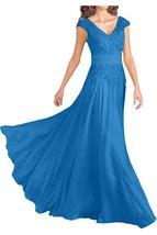 Blevla V Neck Prom Dress Chiffon Mother Of The Bride Dresses Blue US 12 - $189.99
