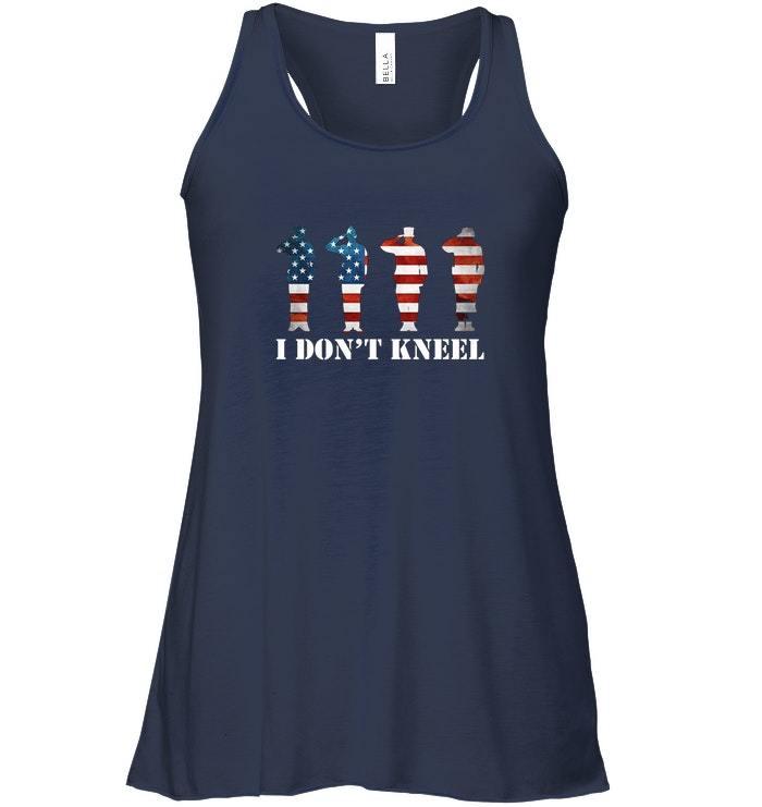 I Dont Kneel I Stand For Anthem USA Flag Flowy Racerback Tank image 2