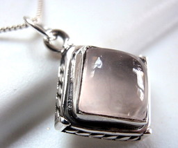 Rose Quartz Square Pendant 925 Sterling Silver with Rope Style Accented Sides - $15.34