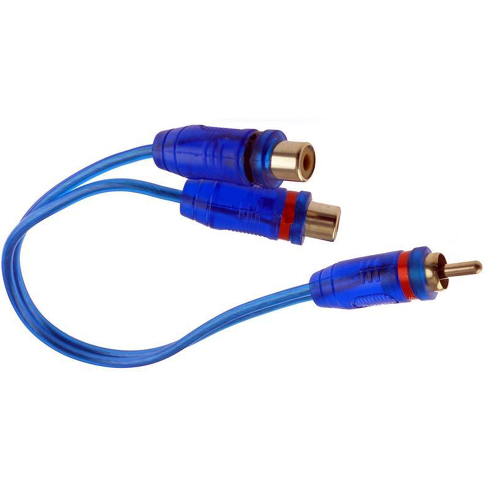 Spiral Shielded 2 Male 1 Female Y-Adapter RCA Audio Cable Wire