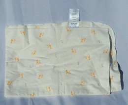 Carters White Cotton Flannel Baby Blanket Orange Gray Giraffe - $39.59
