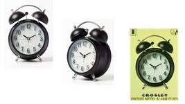 Vintage Modern Twin Bell Alarm Table Clock Black/Silver - Crosley NEW/OP... - $17.32