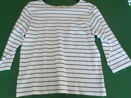 Talbots Woman's white with black stripes cotton top size M half sleeve (MS) - $5.89