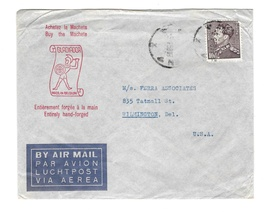 Belgium Advertising Cover to US 1958 Gladiador Machete Made in Belgium C... - $14.50