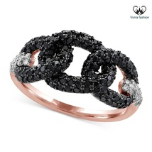 Round Cut VVS1 Black Diamond Interwinted Wedding Ring Rose Gold Fn. 925 ... - ₨5,991.20 INR