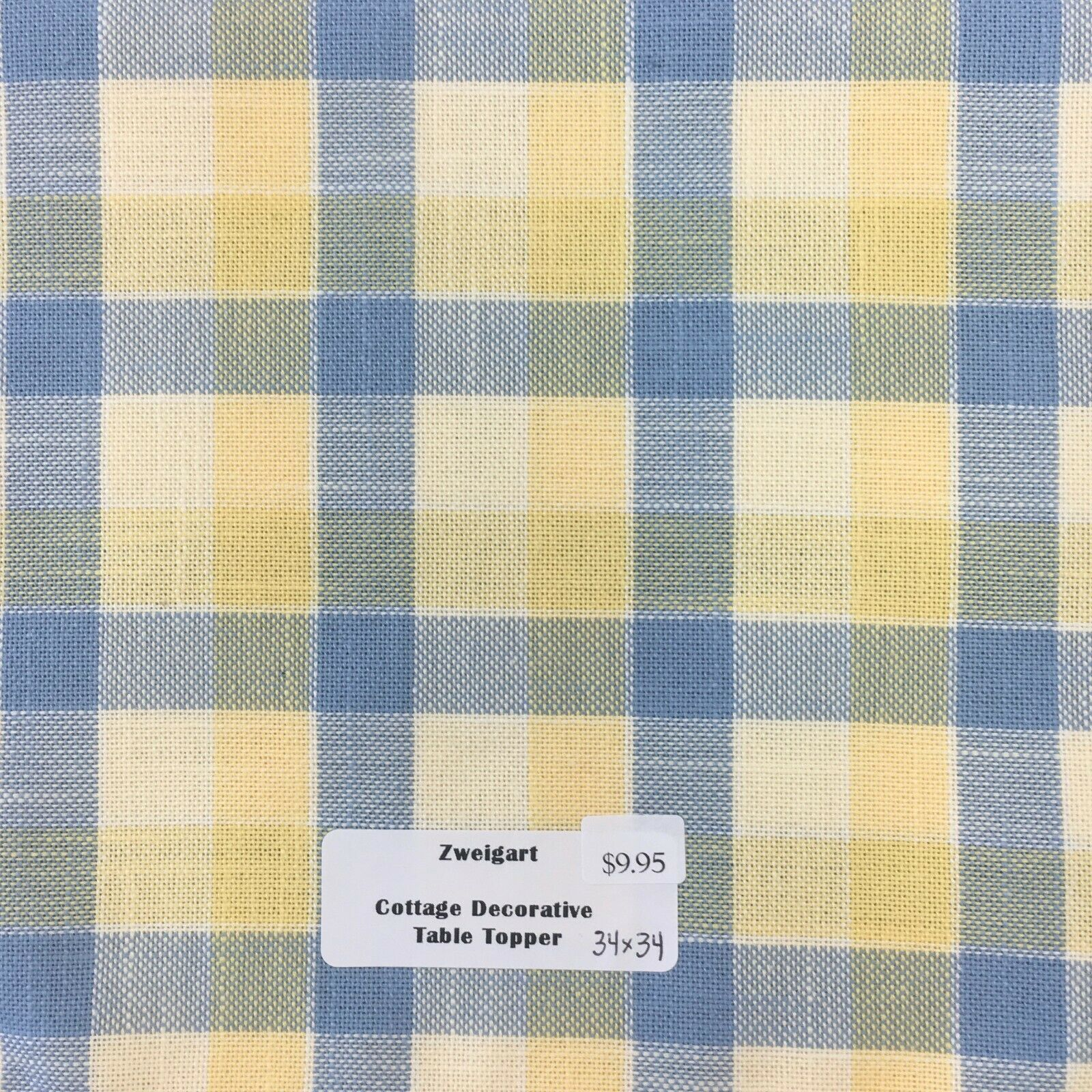 "Primary image for Zweigart's Decorative Cottage Table Topper 34"" x 34"" Blue & Yellow Plaid"