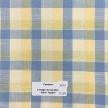 "Zweigart's Decorative Cottage Table Topper 34"" x 34"" Blue & Yellow Plaid - $9.45"