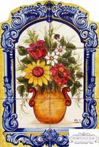 FLOWERS Hand Painted Ceramic Tile Mural Backsplash   Custom Painted Indo... - $250.00