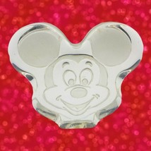 Disney Mickey Mouse Clear Frosted Etched Glass Collectible Paperweight Vintage  - $9.89