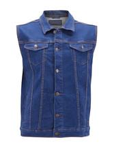 Men's Classic Button Up Casual Cotton Stretch Denim Biker Jean Jacket Vest image 2