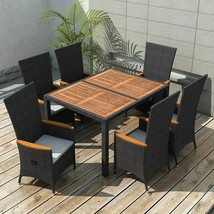vidaXL Outdoor Dining Set 13 Piece Poly Rattan Black Wicker Wood Top Table - $491.99