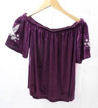 Xhilaration Women Top Blouse Off Shoulder Velvet Burgundy Size M - $9.89