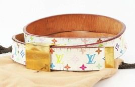 Authentic LOUIS VUITTON Multicolor Monogram Canvas and Leather Belt #11353 - $147.60