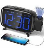 ELEHOT Projection Alarm Clock Radio Digital with Blue Black - $34.56